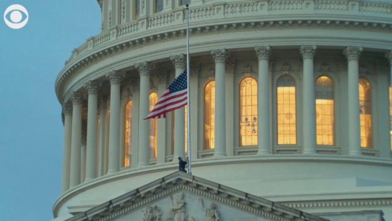 American Flag Flies At Half-Staff For George HW Bush At US Capitol