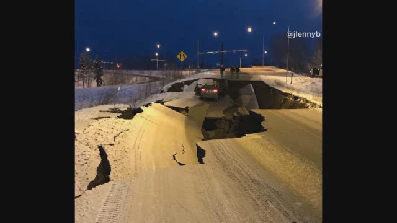 Road Buckles After Alaska Earthquake