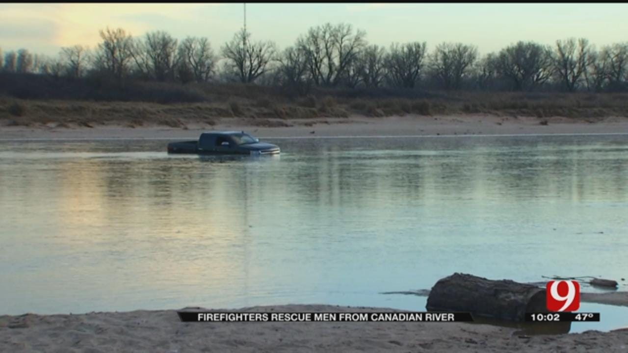 Firefighters Rescue 2 Men From Canadian River