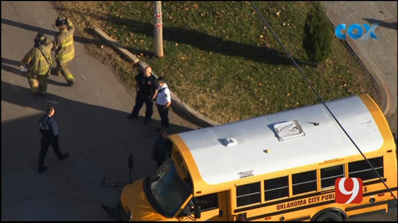 OKC Police, OKCFD On Scene After Crash Involving School Bus In SW OKC
