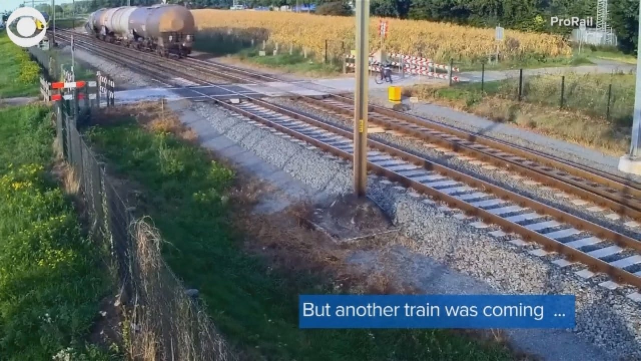 Caught On Video: Train Barely Misses Cyclist