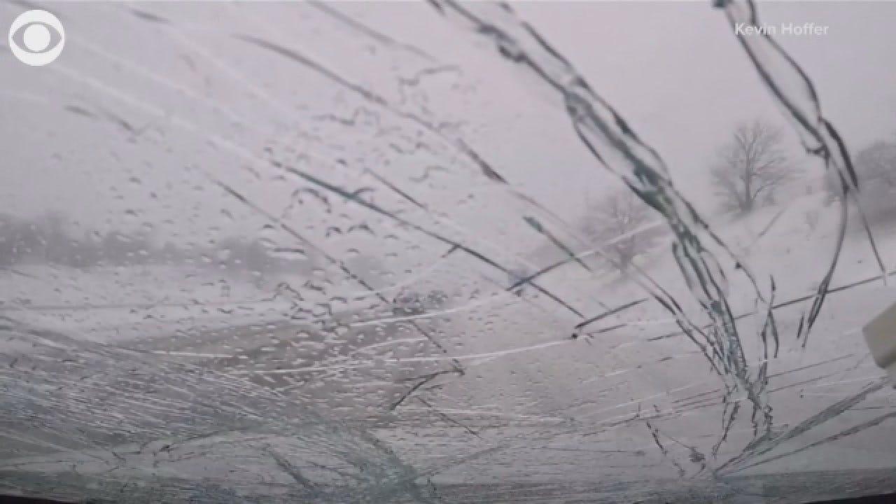 Snow Falls From Overpass, Breaks Windshield