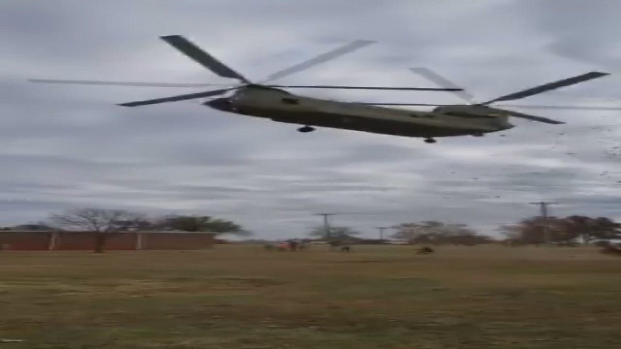 Raw Video: Chinook Landing At Norman Veterans Day Event Injures 1