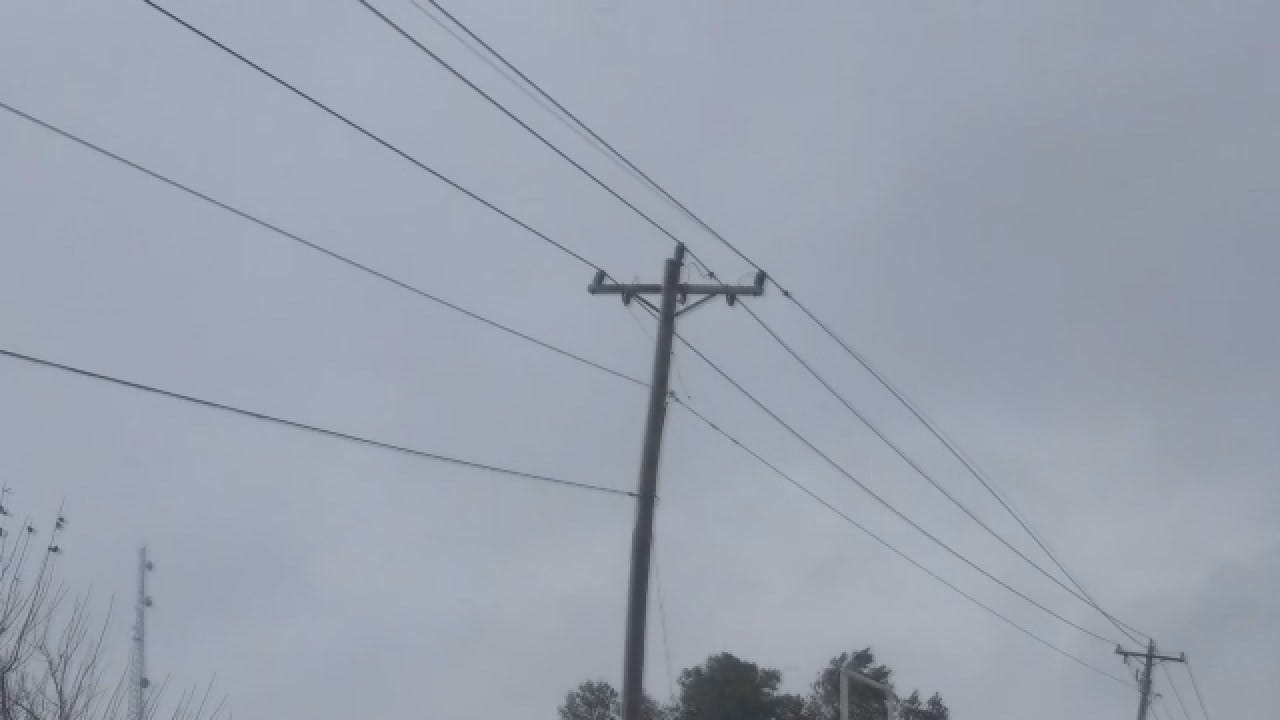 Winds Whip Power Lines West Of Metro Near El Reno