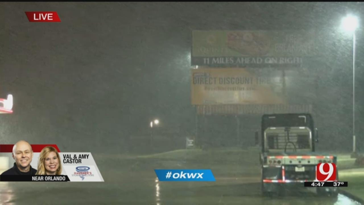 News 9 Storm Trackers: Snow Falls Near Calumet, West Of Stillwater