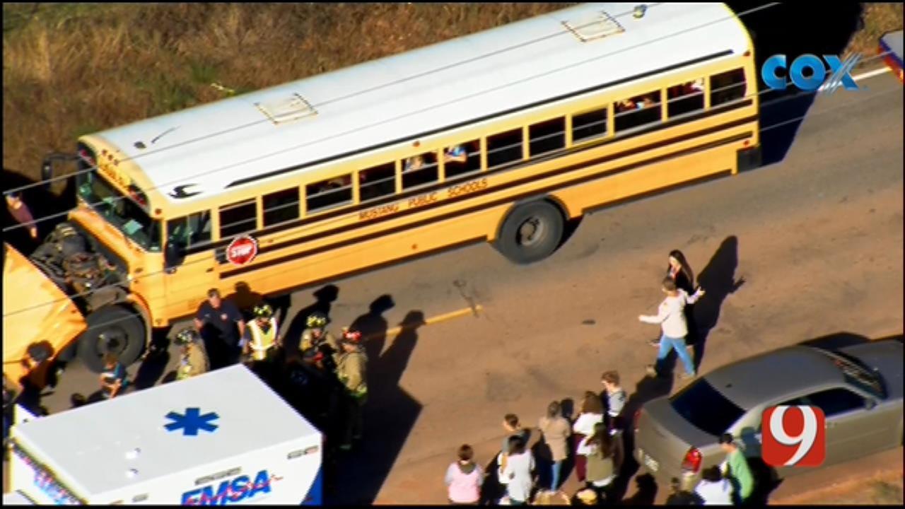 Bob Mills SkyNews 9 Flies Over Scene Of School Bus Crash In Mustang