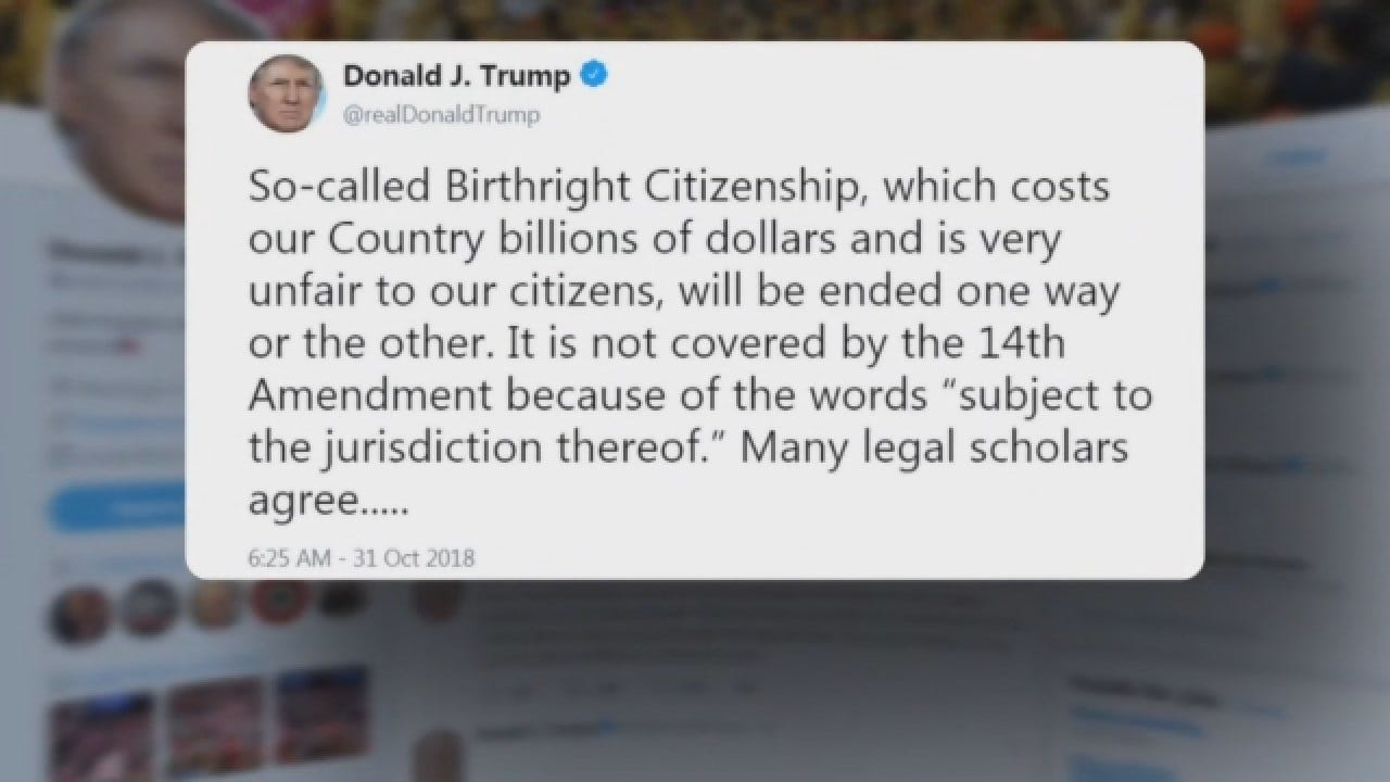 Trump Claims 14th Amendment Doesn't Cover Birthright Citizenship
