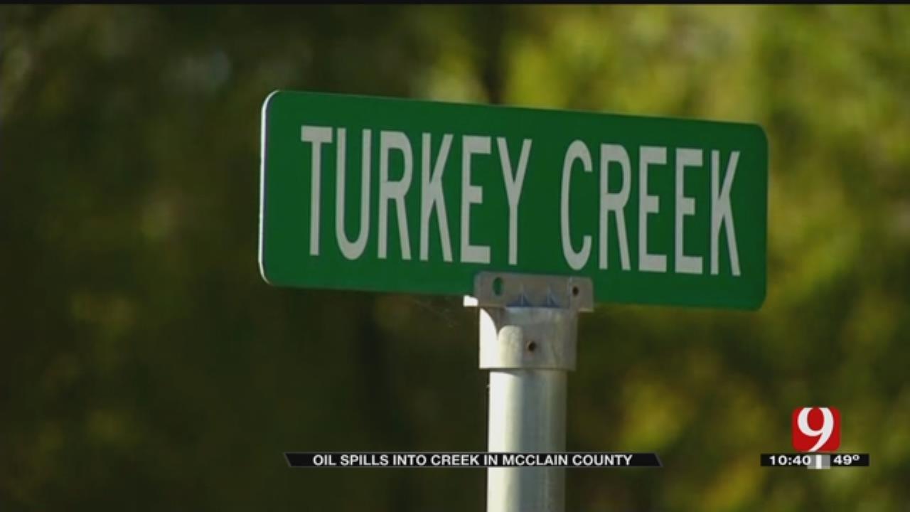 Officials Respond To Oil Leak In Turkey Creek