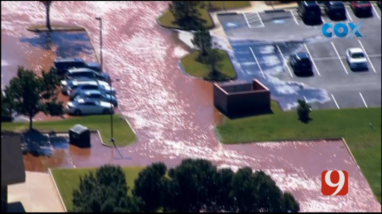 Bob Mills SkyNews 9 Flies Over Water Main Break Near Mercy Hospital