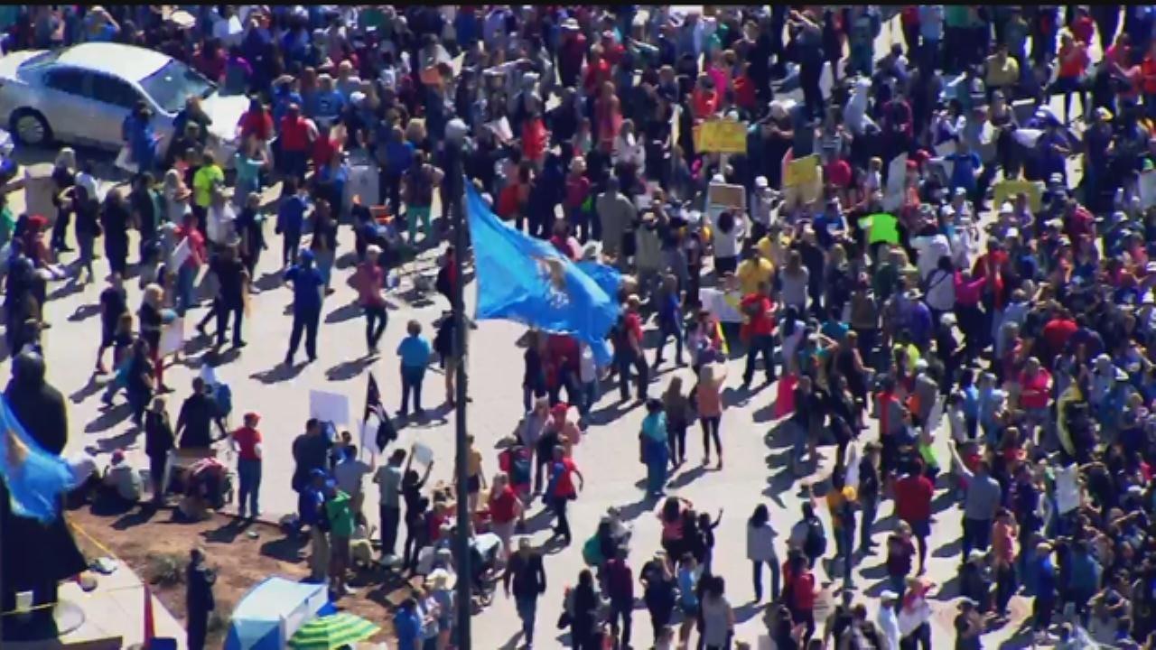 WEB EXTRA: SkyNews 9 Flies Over Tulsa Teachers March To Capitol