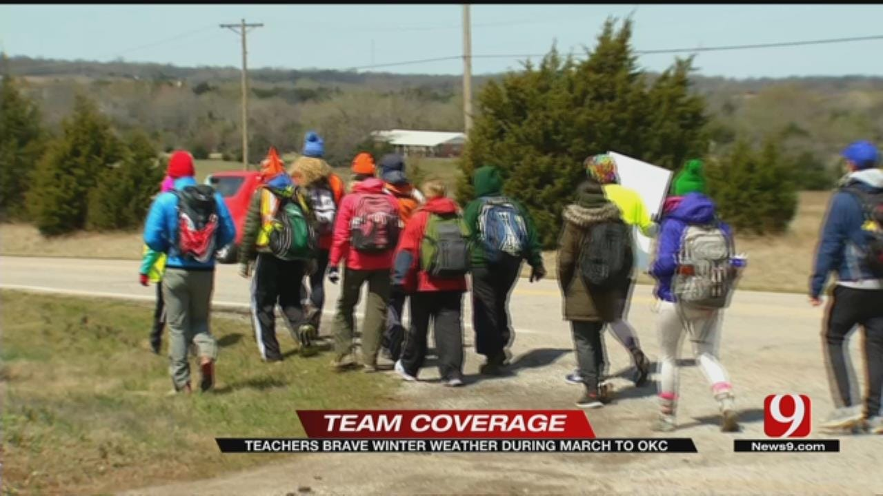 Tulsa Teachers Marching To State Capitol Reach Halfway Point