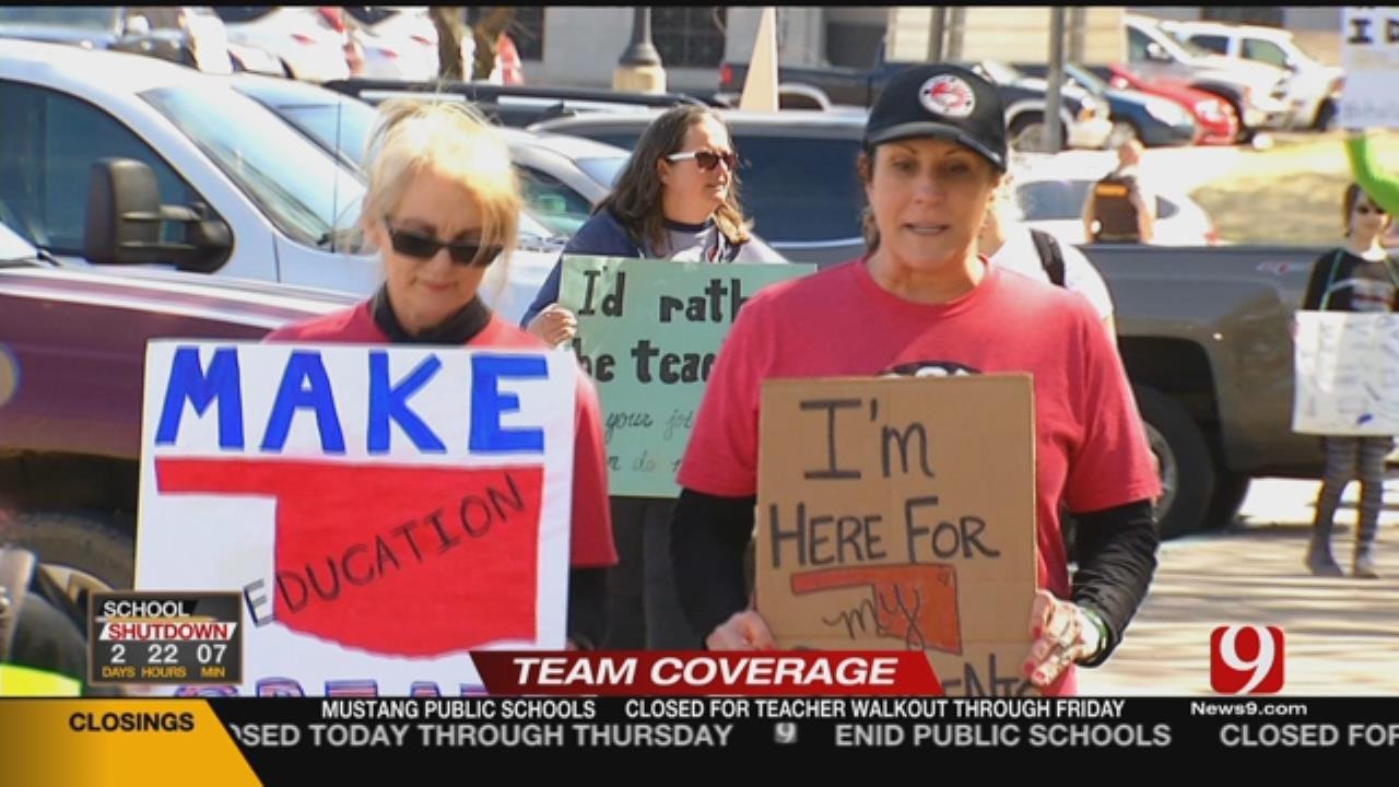 Educators Participate In 'Symbolic' March Around Capitol Building