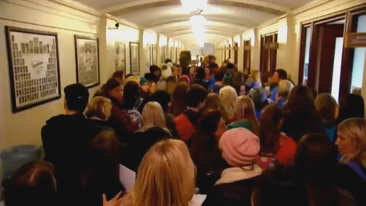 Lawmakers React As Droves Of Teachers March On Oklahoma Capitol