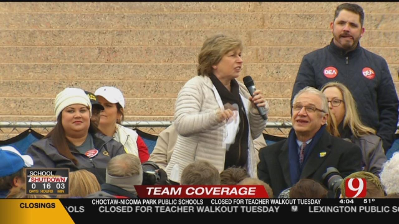 Oklahoma Teachers Voice Their Concerns At Walkout Rally