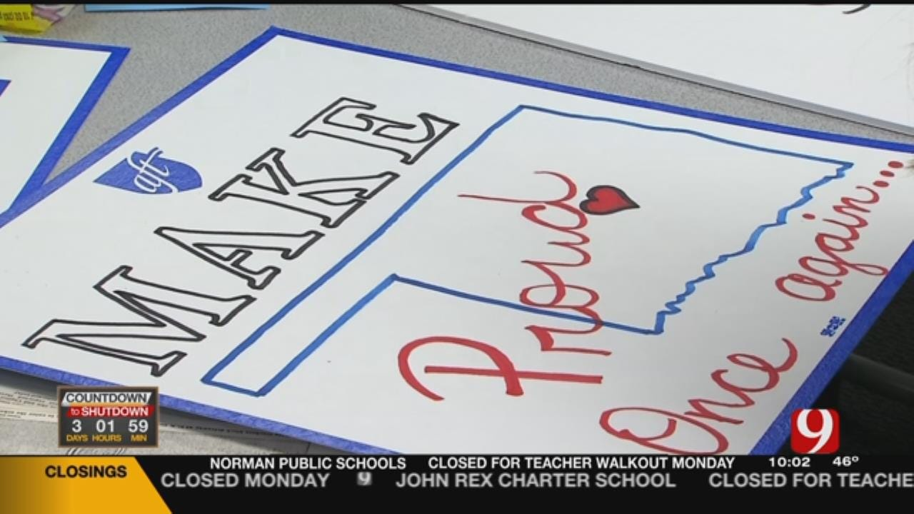 Teachers Make Signs For Planned Walkout