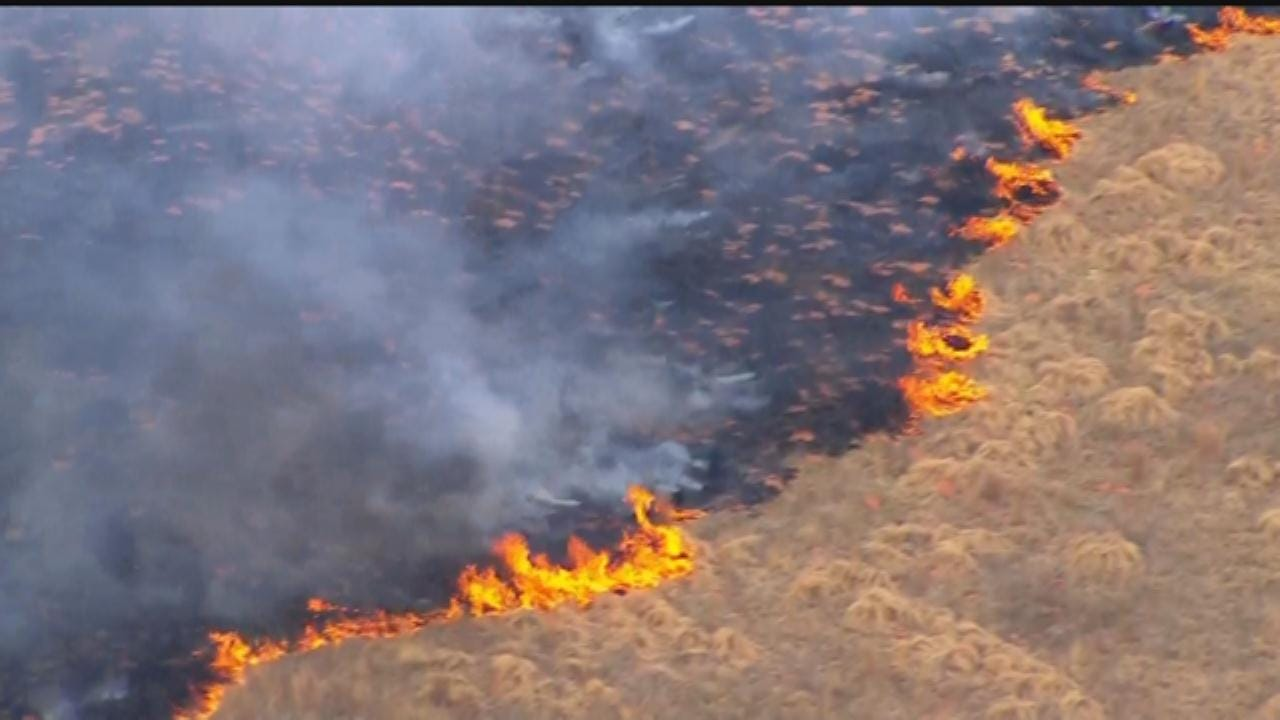 WEB EXTRA: SkyNews9 Flies Over McClain County Wildfire