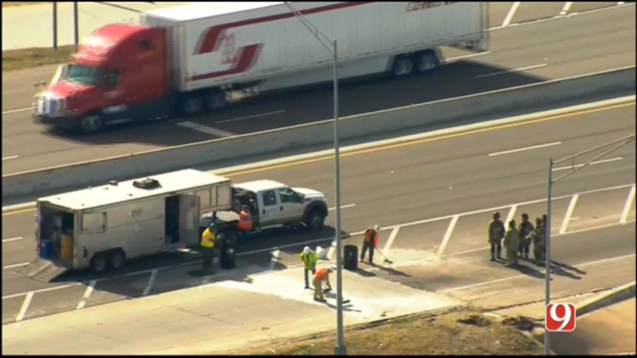 WEB EXTRA: Sky News 9 Flies Over Fuel Spill On I-40 In MWC