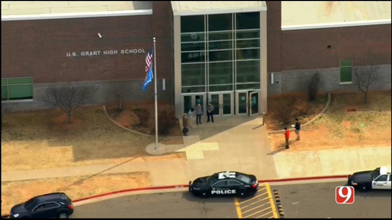 WEB EXTRA: SkyNews 9 Flies Over Lockdown At US Grant HS In SW OKC