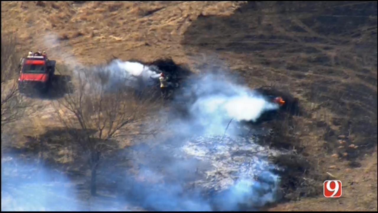 WEB EXTRA: Bob Mills SkyNews 9 Flies Over Wildfire Near Goldsby