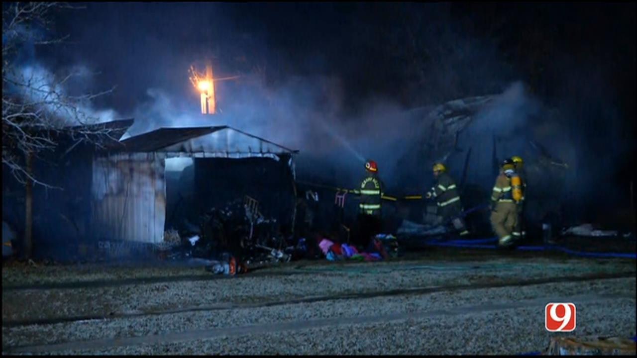 WEB EXTRA: Fire Destroys Mobile Home Near Harrah