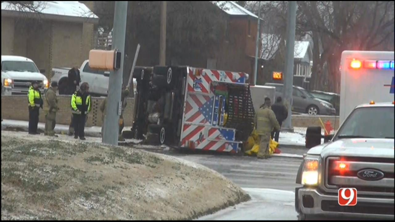 WEB EXTRA: Fire Truck Overturns Outside Of Fire Station
