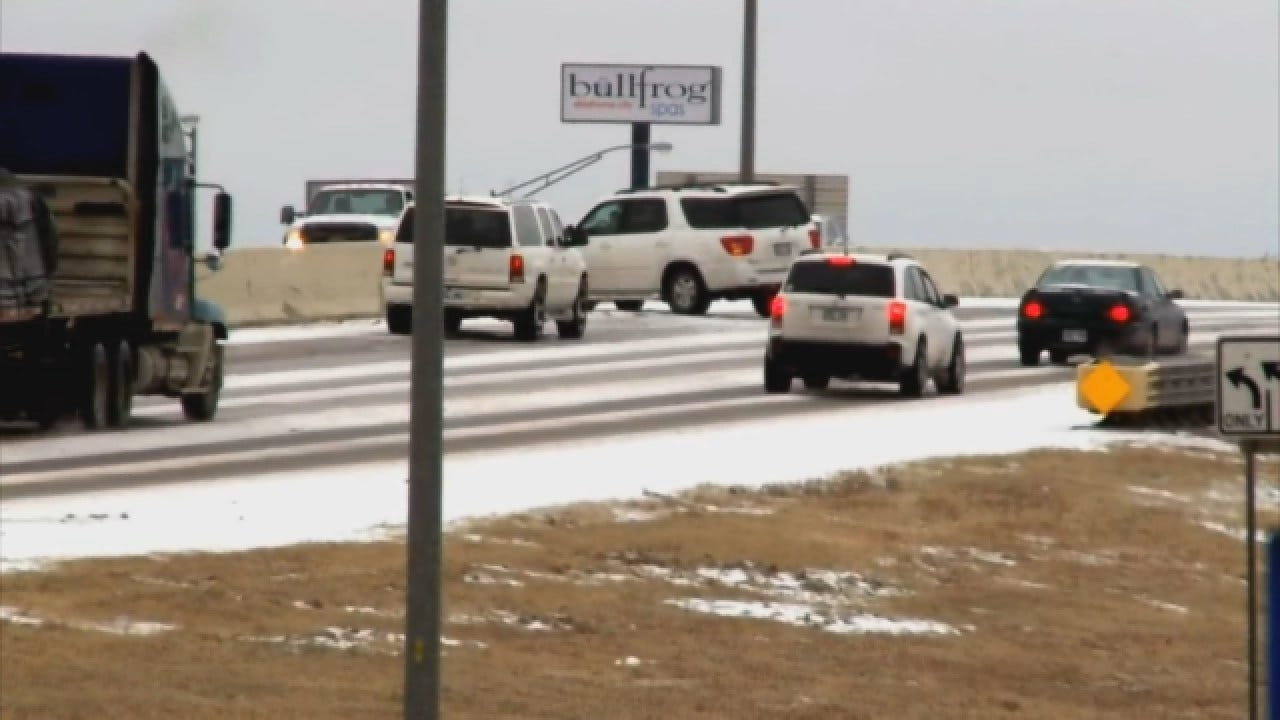 Icy Roads: SUV Wreck In Moore Along I-35