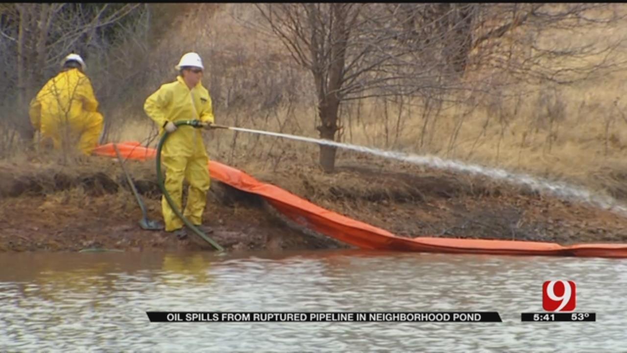 Neighbors Concerned After Oil Spills Into Pond