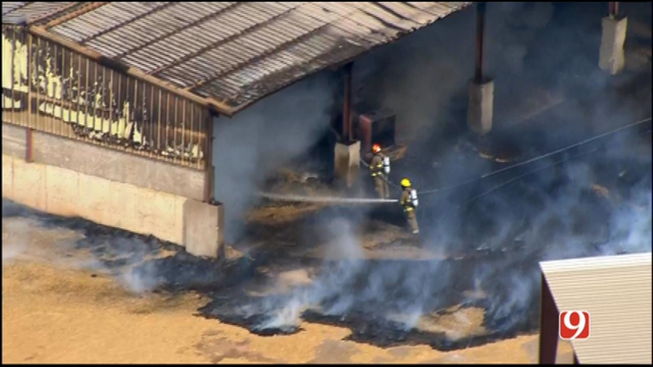 WEB EXTRA: SkyNews 9 Flies Over Fire At Braum's Dairy Farm