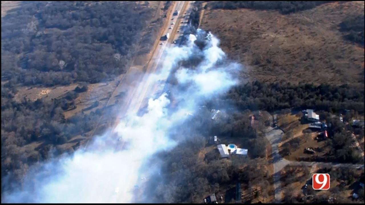 WEB EXTRA: SkyNews 9 Flies Over Grass Fires Along I-35 Near Edmond
