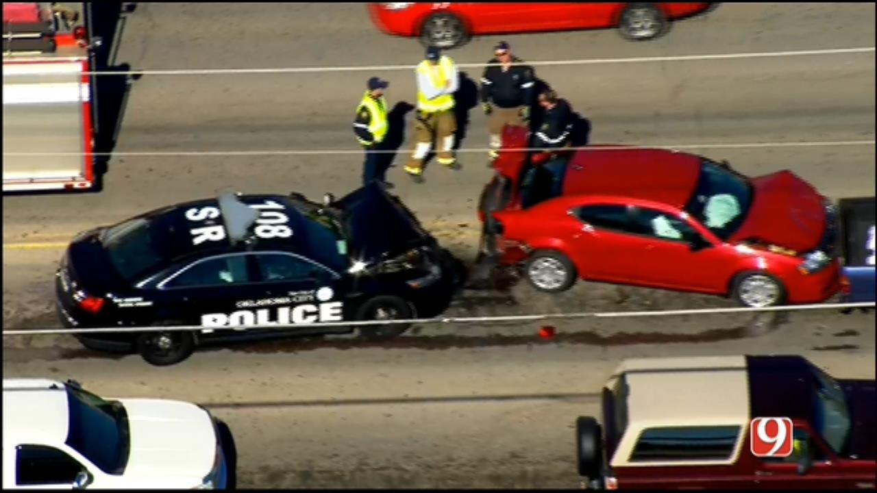 WEB EXTRA: SkyNews 9 Flies Over 4-Car Pileup In Moore