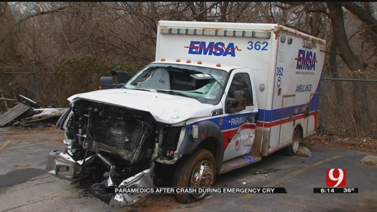 Paramedics Recovering After Rollover Crash In SE OKC