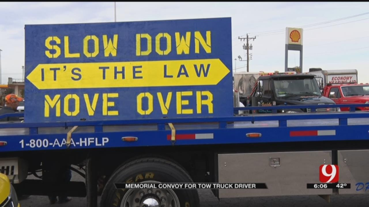 OKC Tow Trucks Convoy In Support Of Tulsa Driver Killed