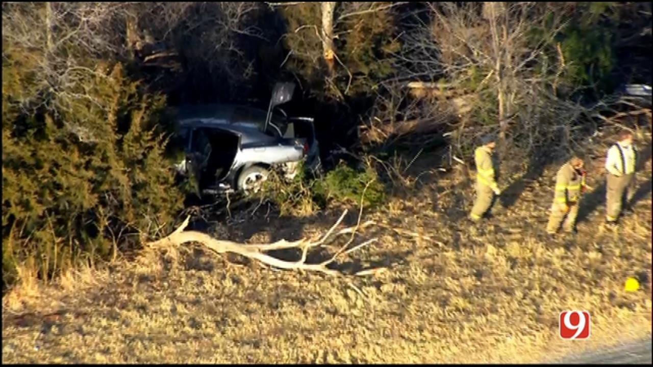 WEB EXTRA: SkyNews 9 Flies Over Crash Along I-40, Near Calumet