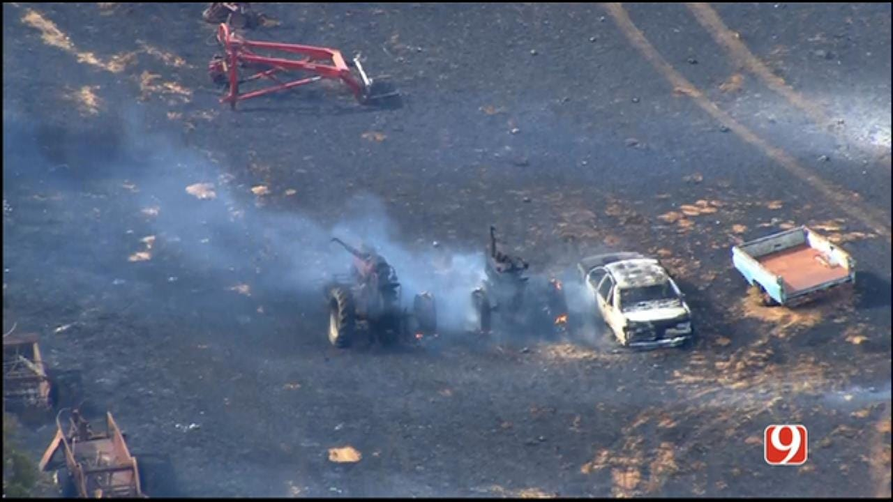 WEB EXTRA: SkyNews 9 Flies Over Garvin County Wildfire