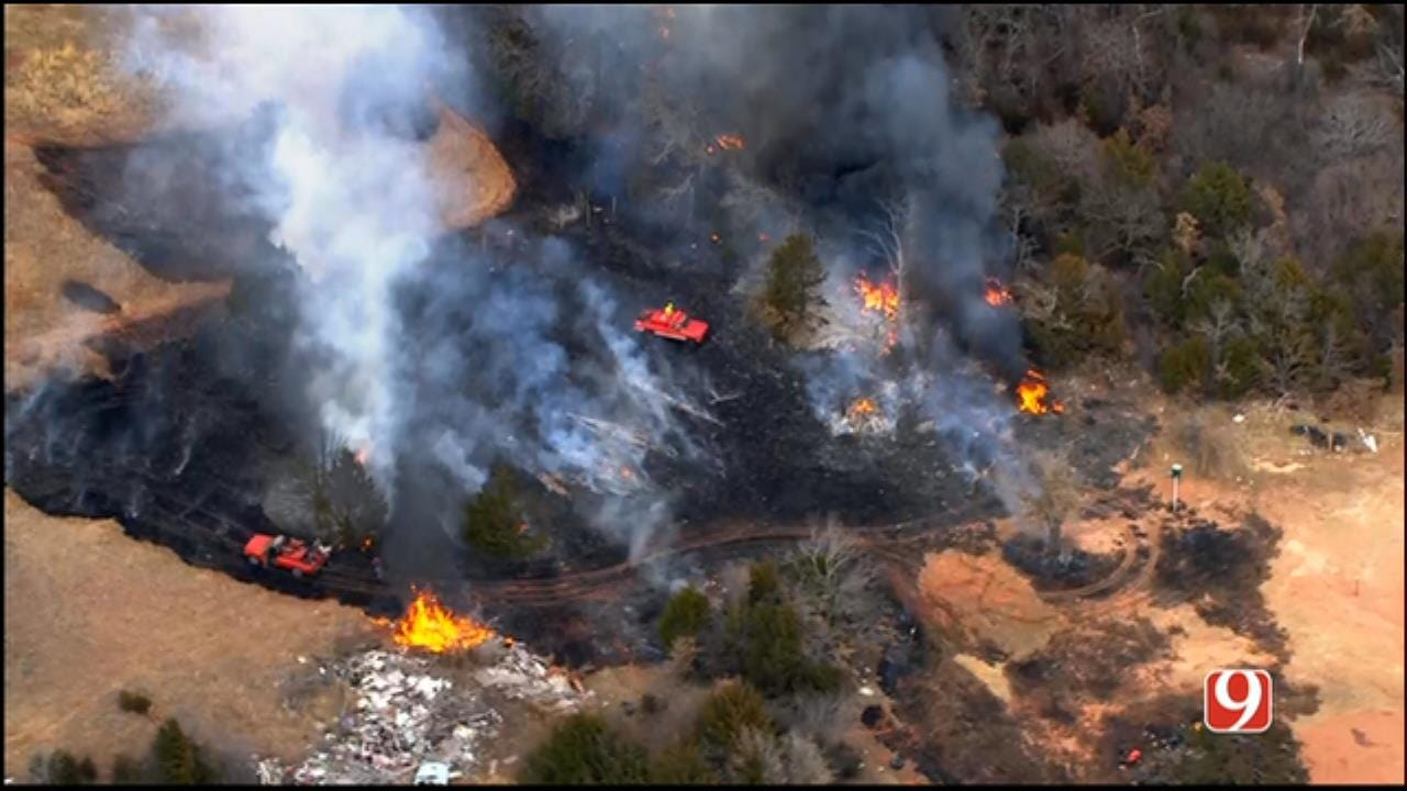 WEB EXTRA: SkyNews 9 Flies Over Wildfire Near Luther