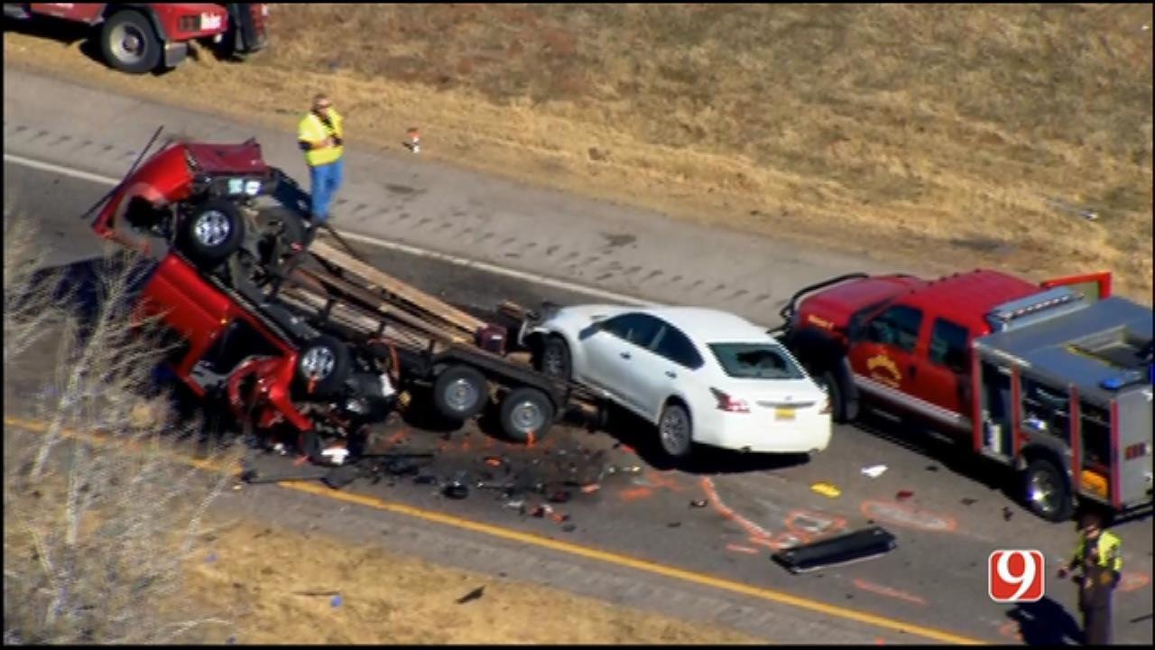 WEB EXTRA: SkyNews 9 Flies Over Fatal Crash Near Goldsby
