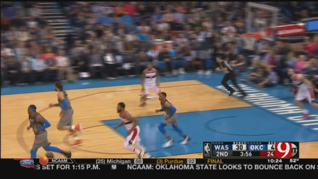 Westbrook's Season-High 46 Lead Thunder Past Wizards 121-112