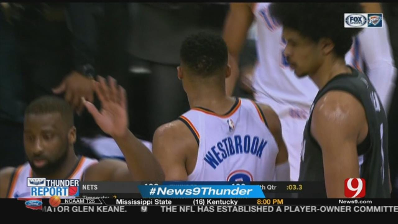 Westbrook's Late Basket Lifts Thunder Past Nets