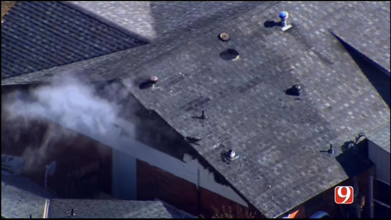 WEB EXTRA: SkyNews 9 Flies Over House Fire In NW OKC