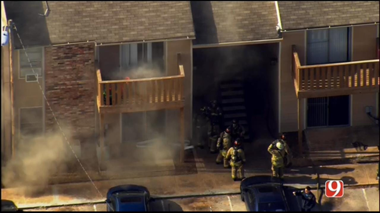 WEB EXTRA: SkyNews 9 Flies Over Apartment Fire In NW OKC