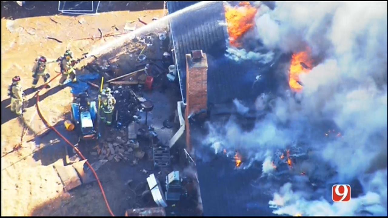 WEB EXTRA: SkyNews 9 Flies Over Rekindled House Fire In Edmond