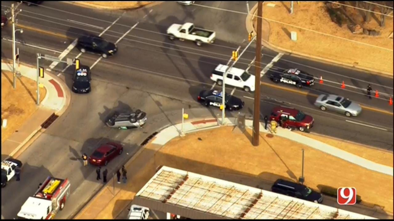 WEB EXTRA: SkyNews 9 Flies Over Rollover Wreck In NW OKC