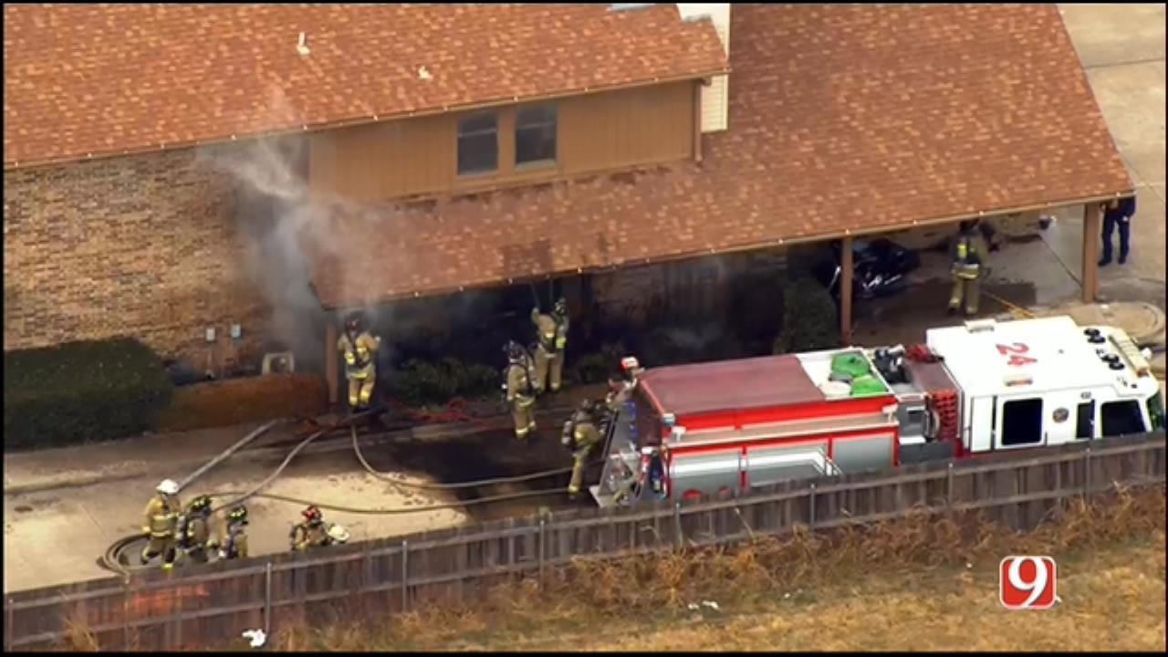 WEB EXTRA: SkyNews 9 Flies Over Duplex Fire In West OKC