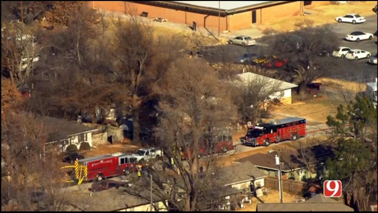 WEB EXTRA: Bob Mills SkyNews 9 Flies Over Bethany House Fire