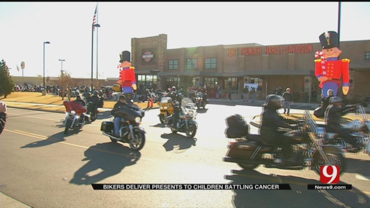 Record Number Of Bikers Deliver Presents To OKC Kids Battling Cancer
