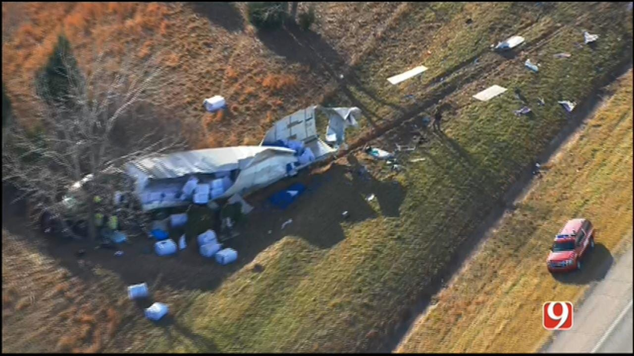 WEB EXTRA: Bob Mills SkyNews 9 Flies Over Fatal Crash Near Shawnee