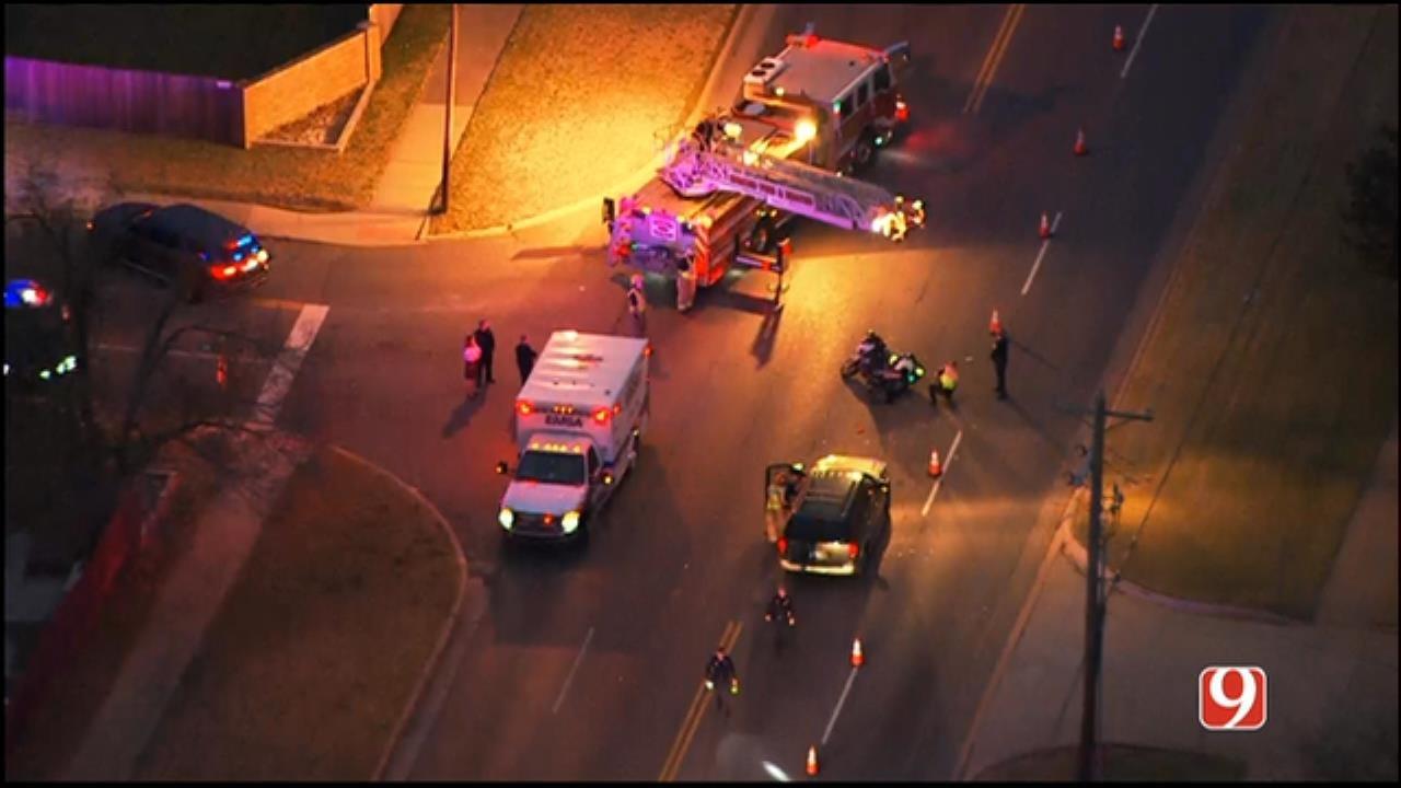 WEB EXTRA: SkyNews 9 Flies Over Crash Involving Edmond Motorcycle Officer