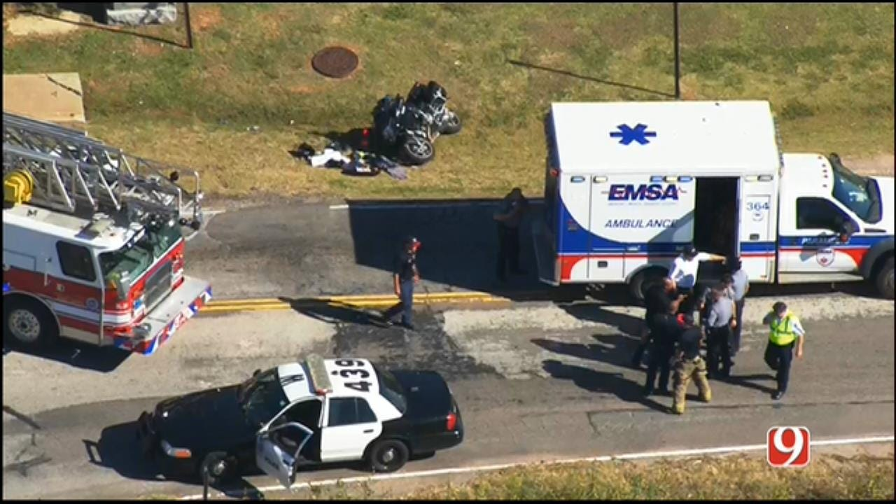 WEB EXTRA: Officer Injured In Crash During Funeral Procession In SW OKC