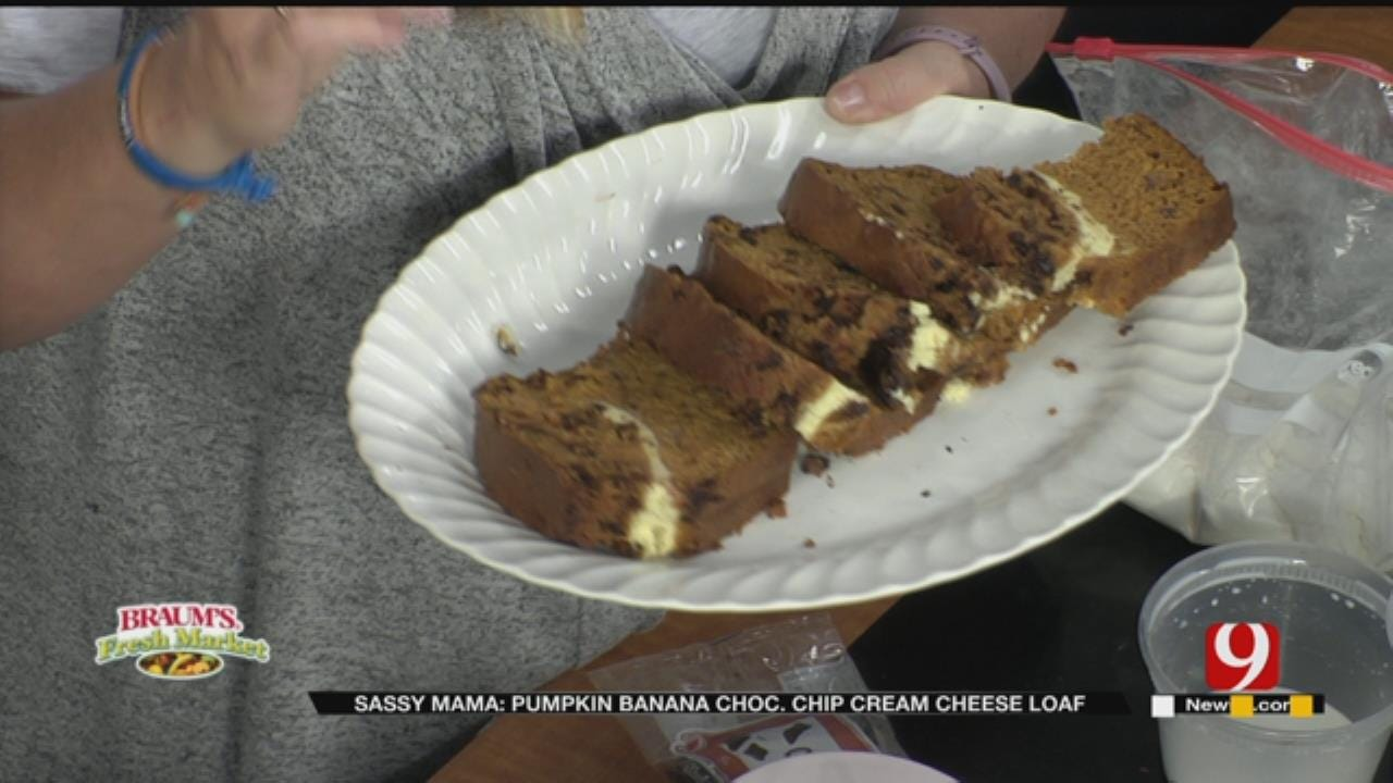 Pumpkin Banana Chocolate Chip Cream Cheese Loaf