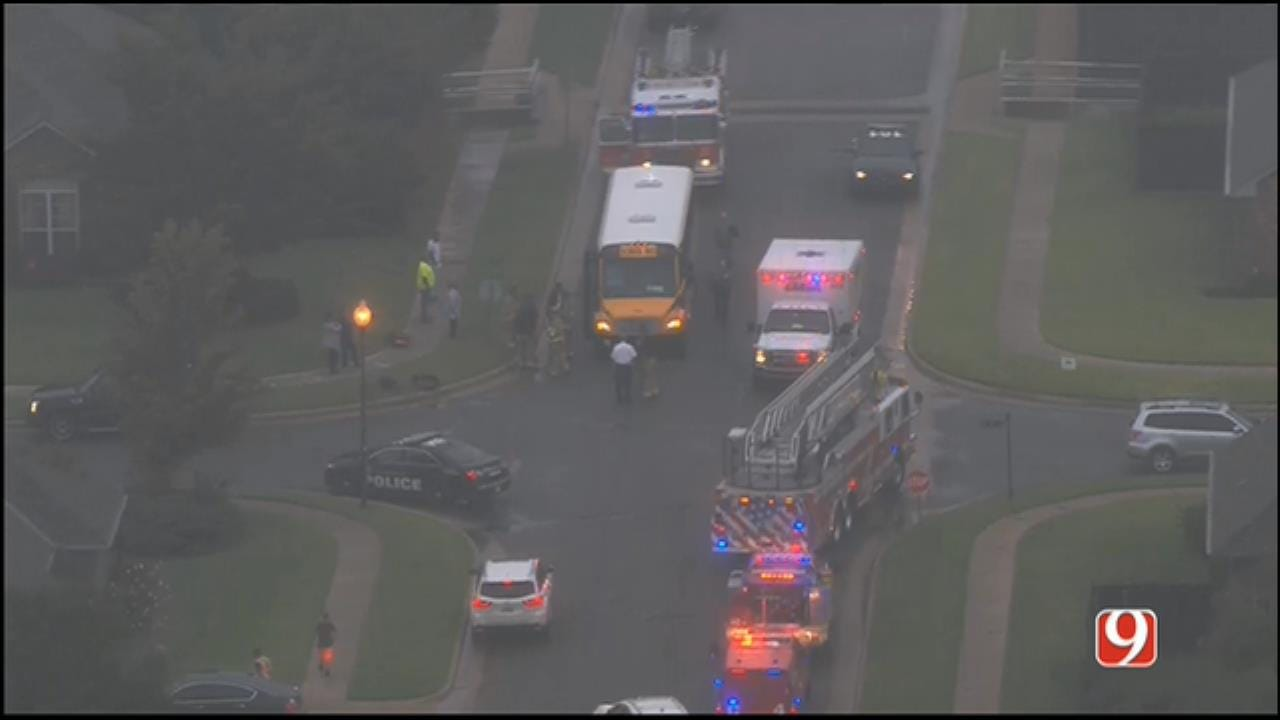 WEB EXTRA: SkyNews 9 Flies Over School Bus Crash In NW OKC